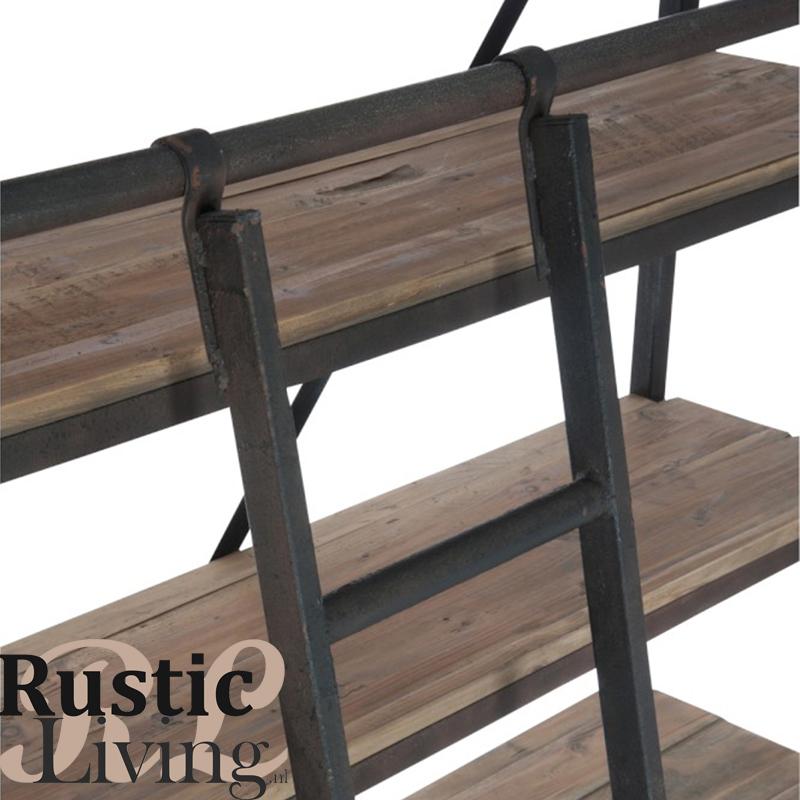 kast lader 5 schappen metaal hout industrieel roest