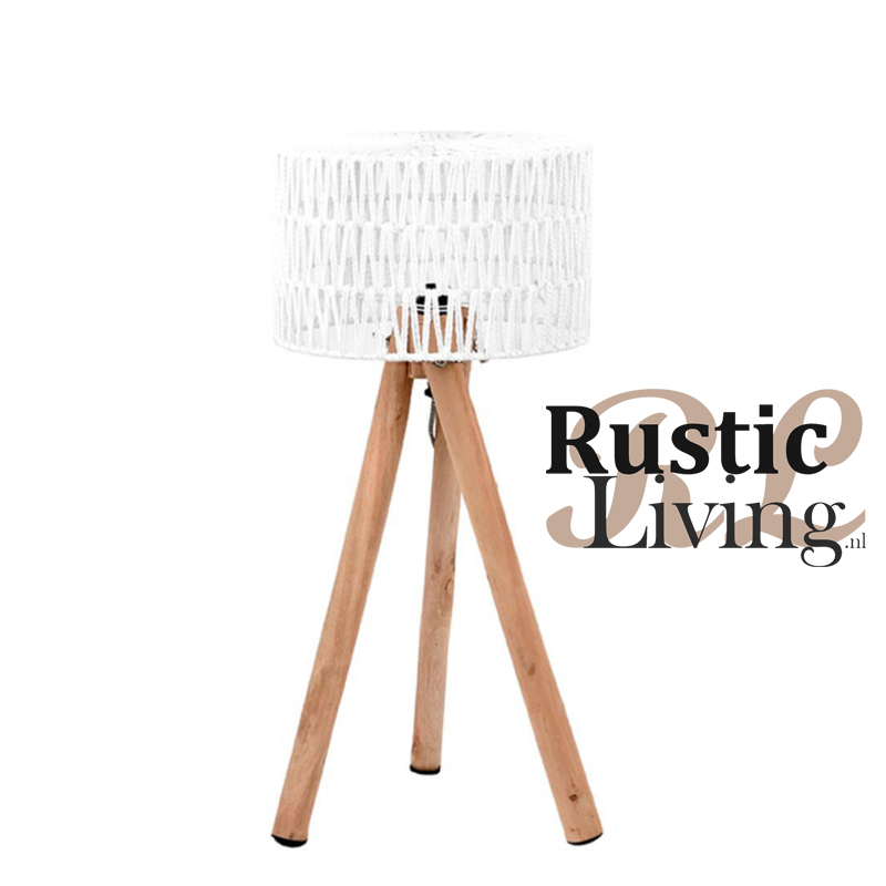 Tafellamp stripe mangohout wit katoen