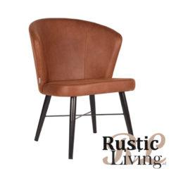 Lounge stoel fauteuil Wave microvezel cognac metaal