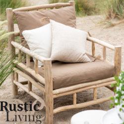 Sofa 1p Teak Textiel Naturel Bruin