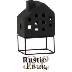 windlicht huis modern porselein zwart