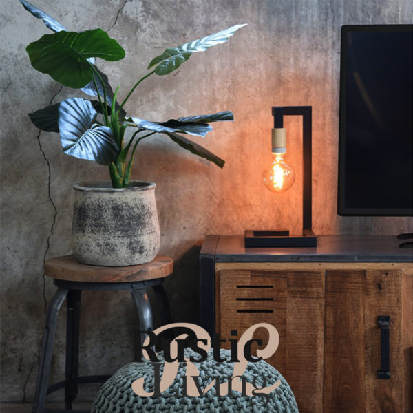 tafellamp loco zwart metaal naturel hout