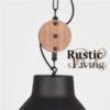 Hanglamp Dock zwart metaal naturel rubberwood