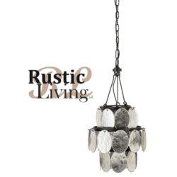 hanglamp Luster Foliorium Metaal Glas Zwart Zilver