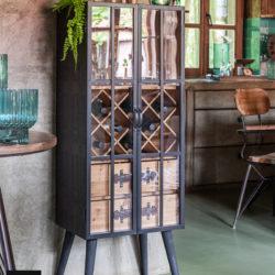 Barkast 2 Lades Hout/Glas Zwart (90230)