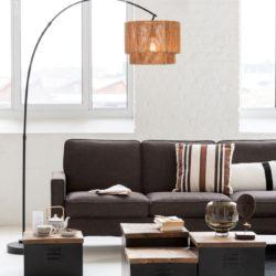 Vloerlamp + Lampenkap Touw Metaal Zwart