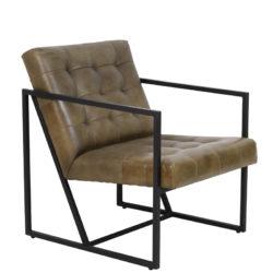 Loungestoel itiso leer metaal donkerbruin zwart lightenliving