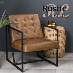 Loungestoel itiso leer metaal bruin zwart lightenliving