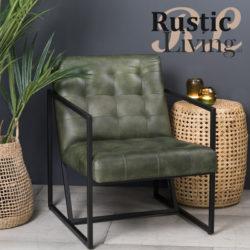 Loungestoel itiso leer metaal groen zwart lightenliving
