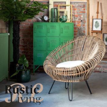 Stoel Lounge Vivi Met Kussen Rotan Ijzer Naturel