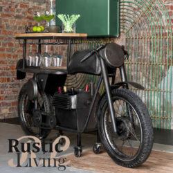 bar motorfiets metaal zwart mangohout