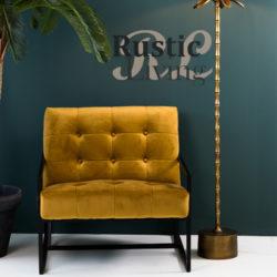 loungestoel geneve oker geel velours metaal zwart