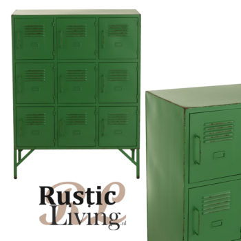 vintage kast roest groen metaal 9 vakken