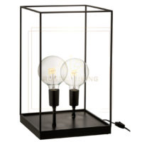 Tafellamp rechthoekig frame e27 metaal zwart large