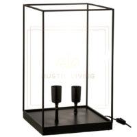 Tafellamp rechthoekig frame e27 metaal zwart large1