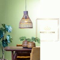 Hanglamp Puerto medium rond rotan hout naturel