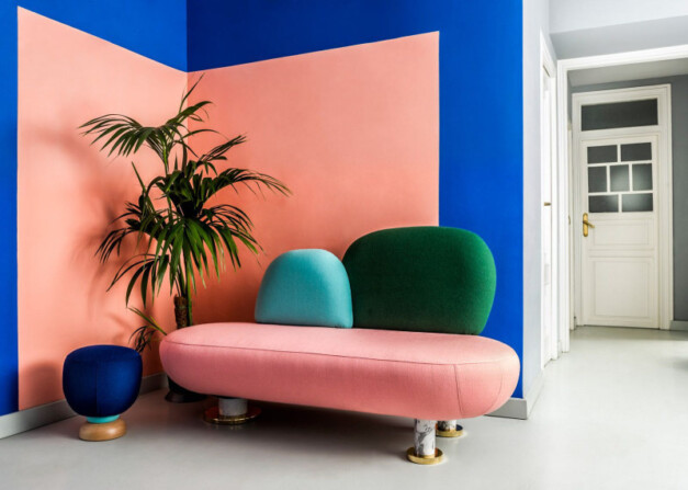 Color blocking blauw, roze en groen